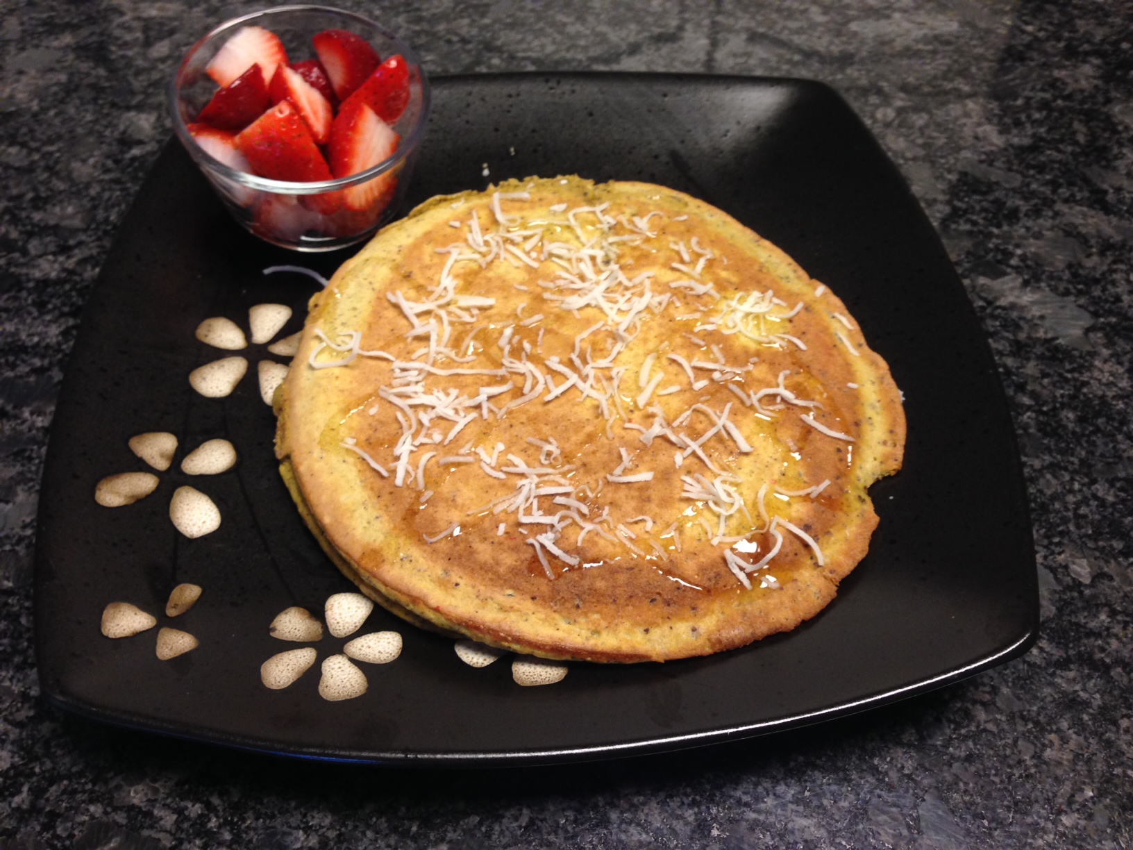coconut pancake with strawberries