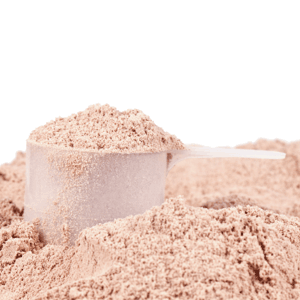 Scoop of casein protein powder