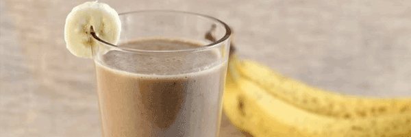 Coffee smoothie with ripe bananas
