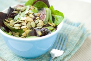 Pumpkin seeds in a salad