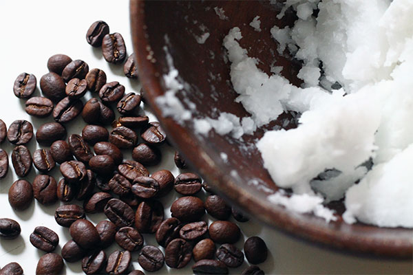 Coffee beans and coconut oil
