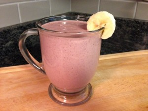 Chocolate raspberry smoothie in cup