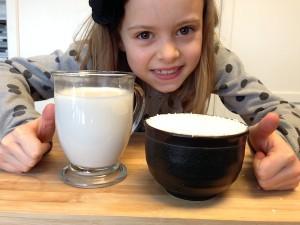 Fresh made coconut milk in glass