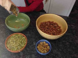Adding nuts to bowl