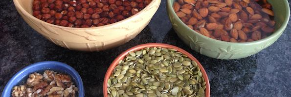 soaked walnuts, almonds, pumpkin seeds, and hazelnuts