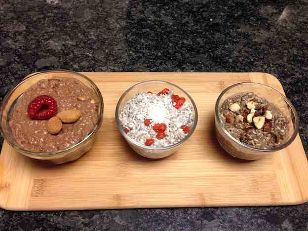 Three flavours of chia pudding