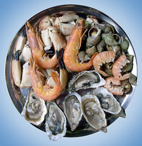 Cooked shrimp and oysters
