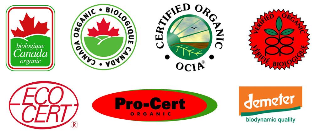 Logos of various organic food certification bodies