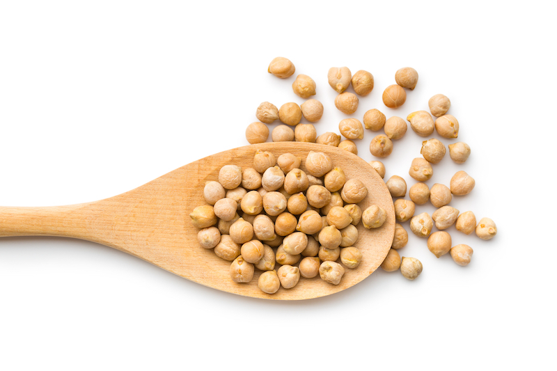 Chickpeas on a spoon